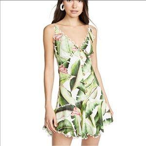 FARM RIO white palms linen dress